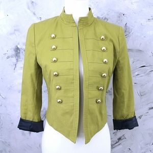 FOREVER 21 Pea Green and Black Crop Band Jacket